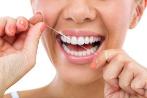 close-up of dental flossing